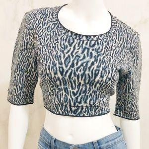 BCBG MaxAzaria Isabelie Cheetah Jacquard Crop Top